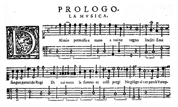 07 picture - A page from the 1609 score of L'Orfeo