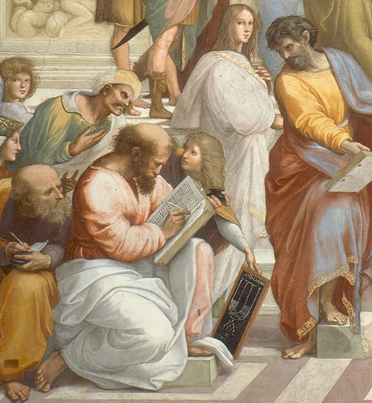 02 picture - TEANO, Phythagoras and his best scholar - detail of painting by Raphael »School of Athens«
