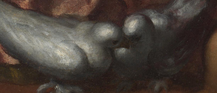 04 picture of 2 Pigeons by Palma il Giovane - detail of Venus and Mars