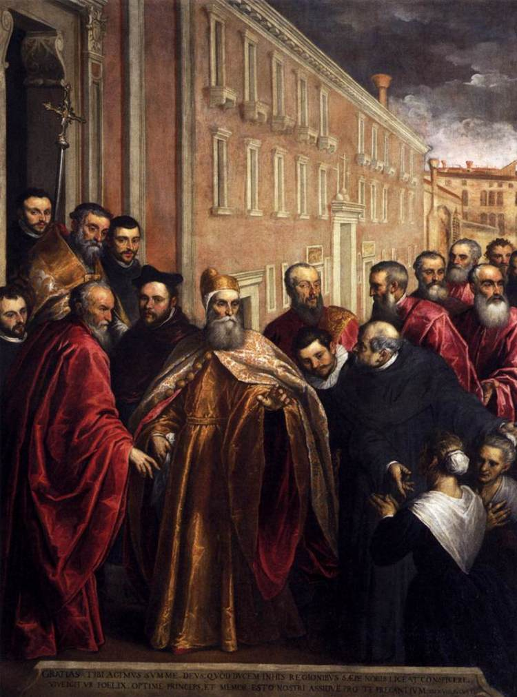 picture 1 - Palma_il_Giovane_-_Pasquale_Cicogna_in_Dogal_Robes_Visiting_the_Church_and_Hospital_of_the_Crociferi_-_WGA16900