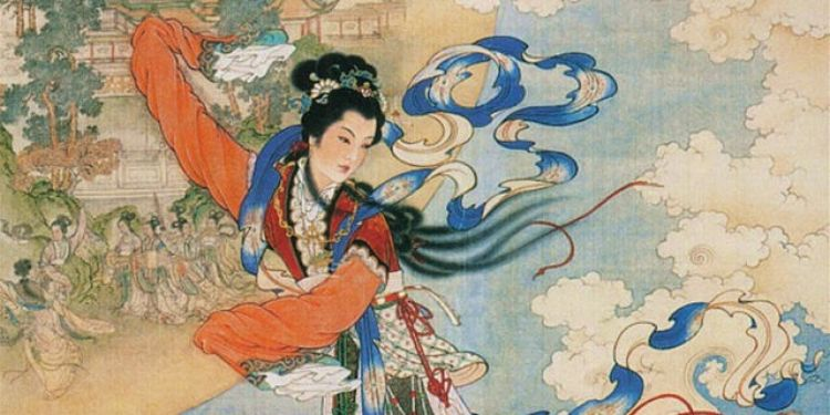 picture 1 - Moon princess Chang-e 嫦娥 on her moon castle with musicians (left)