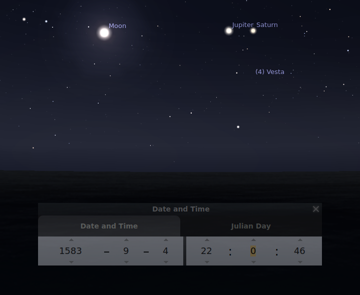 picture 10 - View in the south at 22 h - moon - saturn - jupiter in a row over the horizon line at 1583-09-04
