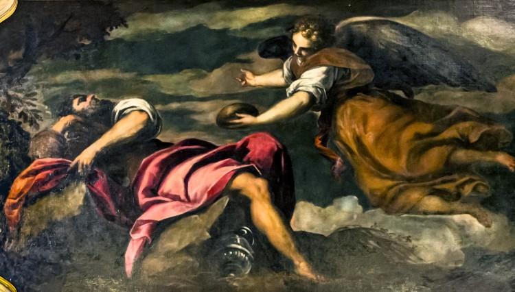 Interior of Chiesa dei Gesuiti (Venice) - sacristy - Ceiling - Elia nutrito dall'angelo by Palma il Giovane