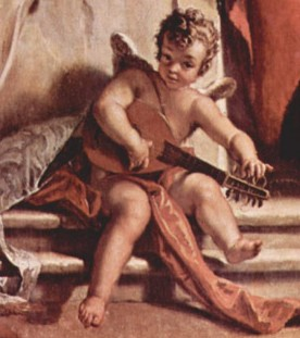 picture 5 - detail - Sebastiano Ricci painted a little Mandolin angel as remembering of Palmina