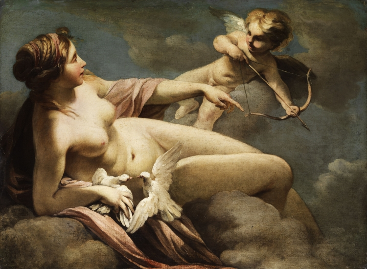 picture 6 - painting «Venus and Cupido« by Sebastiano Ricci inspired by the love of Palma and Palmina, symbolised as 2 white pigeons