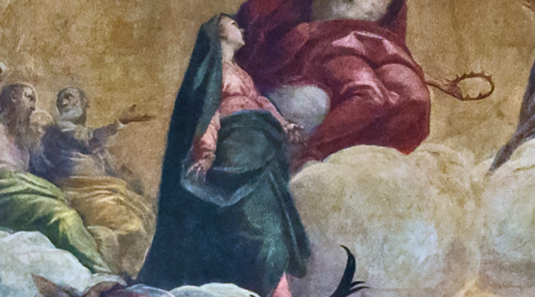 picture 1 - detail (palmina as saint virgin) of palma il giovane's huge painting in san zulian