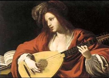 picture 2 - picture 1 - painting of lute playing women