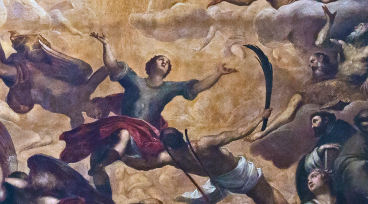 picture 3 - detail (saint julian) of palma il giovane's huge painting in san zulian