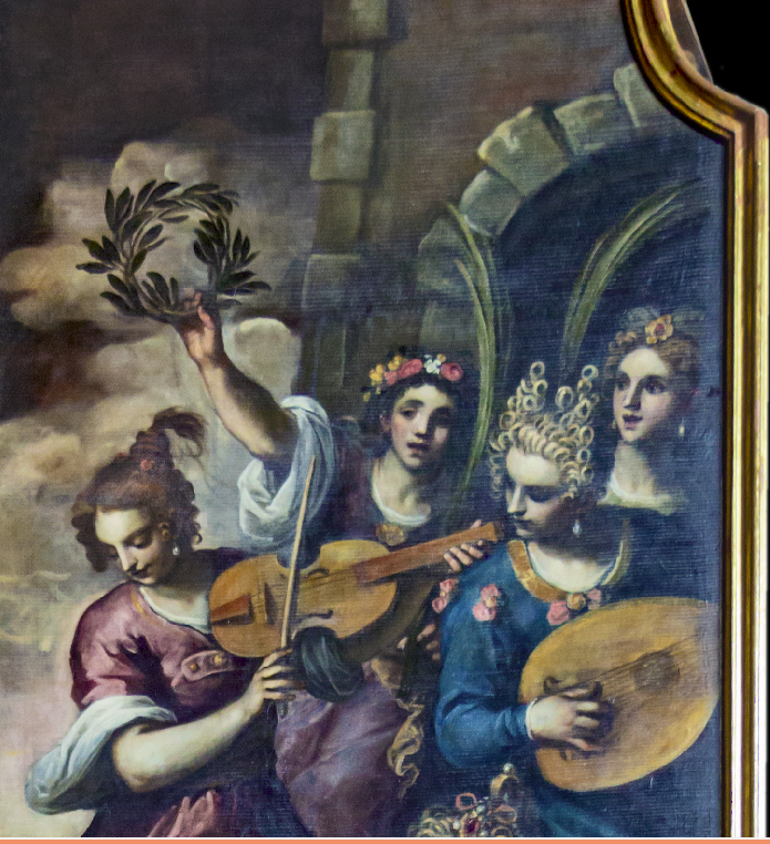 picture by Palma - detail of painting with Palmina with lute »Davide vincitore di Golia festeggioto dalle fanciulle di Gerusalemme« by Palma il Piovane.jpg