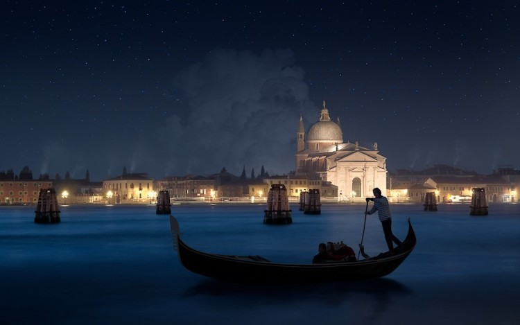 picture 1 - Big Promenade at Giudecca Venice at night - view to Giudecca island - with Il Redemtore