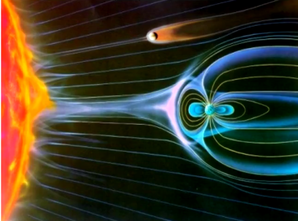 01 [picture] Art Impression of Earth (below) and Venus's Magnetosphere (above)